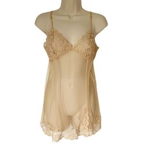 Victoria's Secret Gold Sheer Nightgown Lingerie